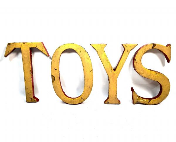 Antique Shop Display Wooden Advertising Sign ' Toys ' Toy Shop Collectable